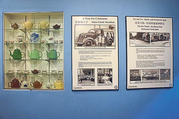 A collection of tea pots form part of the museum exhibit