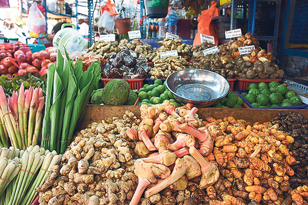 At the Pasar Chow Kit, you can find every type of spice and fresh herbs to make an ulam salad