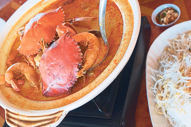 The Dragon Tiger Seafood Pot with prawns, crabs and squids cooked in a mild rich curry and served in a claypot with vermicelli
