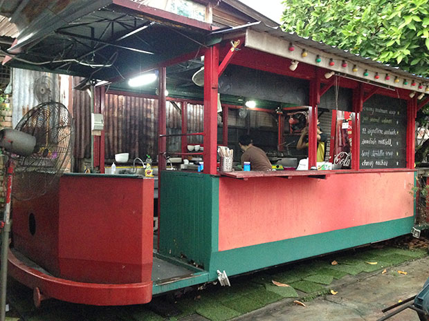 This salvaged train carriage is now a Western food station that fronts Cafe 12.