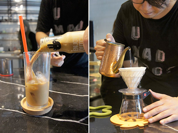 Shaken, not stirred - 3B's Dutch coffees come in four variants (left). Will Jung, owner of 3B Drip & Dutch, preparing a hand drip for a customer (right).