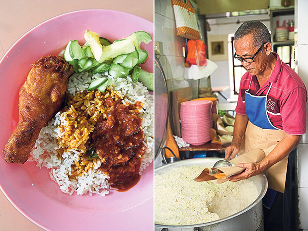 If you prefer the acar of cucumber and pineapples, order the half portion of rice with fried chicken to get a meal for RM5 (left). The rice resembles nasi minyak with al dente grains at the Nasi Beringin stall (right).