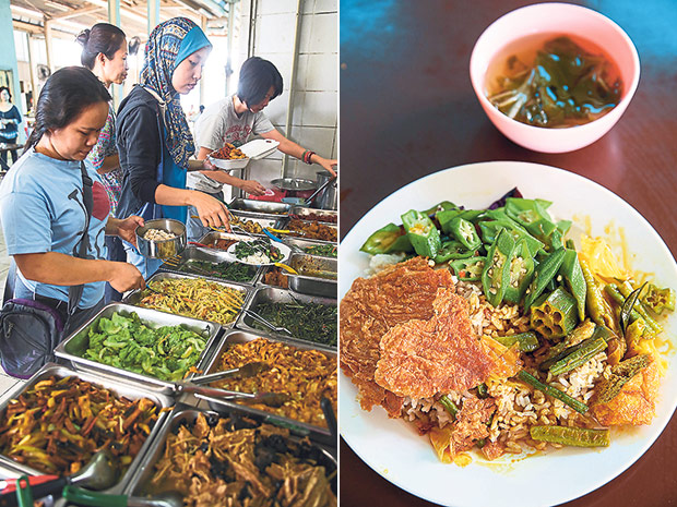 Even Malay ladies flock to the Bangsar Vegetarian stall for their takeaway lunch (left). A plate of brown rice topped with three types of vegetarian dishes with a bowl of soup can cost up to RM3.50 at the Bangsar Vegetarian stall depending on the amounts you take (right).