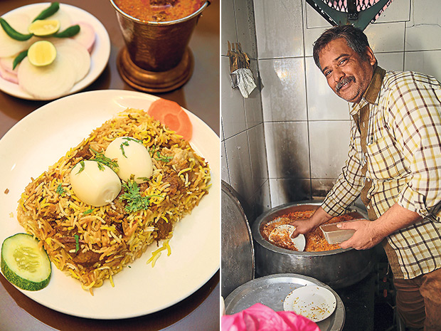 The Hyderabadi Special Mutton biryani is served with hard boiled eggs at Hyderabad Recipes (left). The chefs at Hyderabad Recipes come from Hyderabad and New Delhi (right).