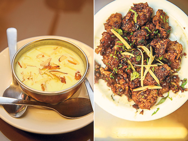 A sweet ending to a meal here with badam kaddu kheer at Hyderabad Recipes (left). Hyderabad Recipes serves gobi Manchurian that is made from cauliflower that is deep fried with a batter and tossed in a sweet spicy sauce (right).