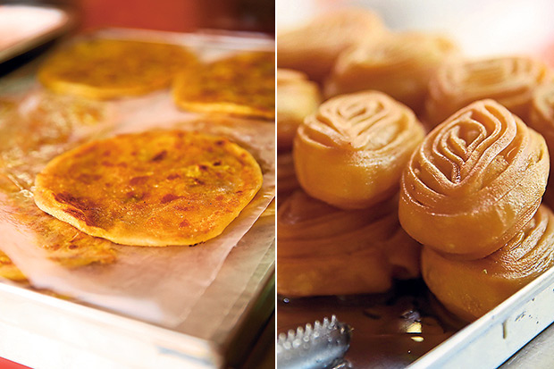 A P Bhavan's addictive poli is a sweet tasting chapati with chana dhal and jaggery (left). Sweets like the pretty kaji is available every day at A P Bhavan (right).