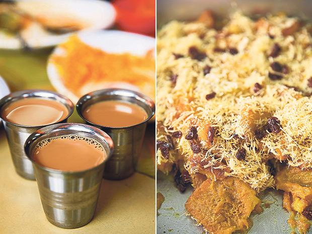 End your meal with a tiny cup of Masala tea at Hyderabad Biryani House (left). Look for this weekend dessert special at Hyderabad Biryani House, the double ka mitha (right).