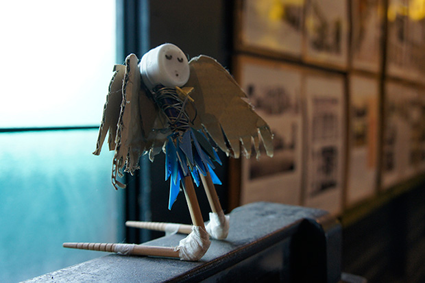 A whimsical angel, made from recycled materials, is yet another of Pierre's creations.
