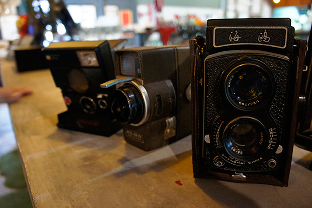 Vintage cameras are part of the decor items scattered around the cafe-cum-gallery.