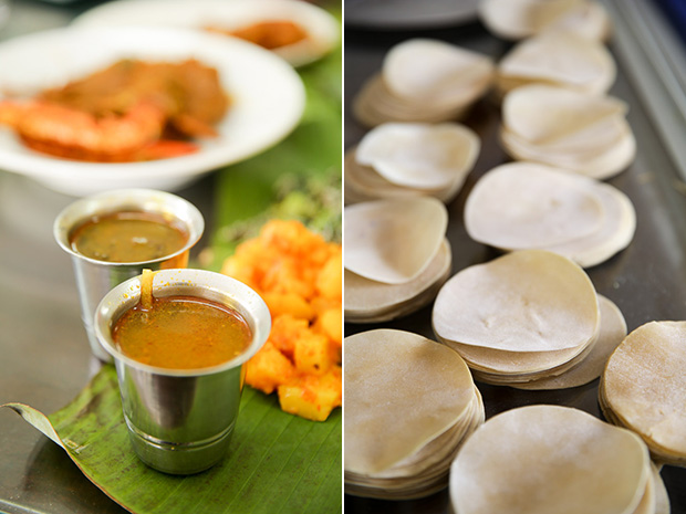 Peppery crab rasam is a weekend special (left). Lining up the pappadums for frying (right).