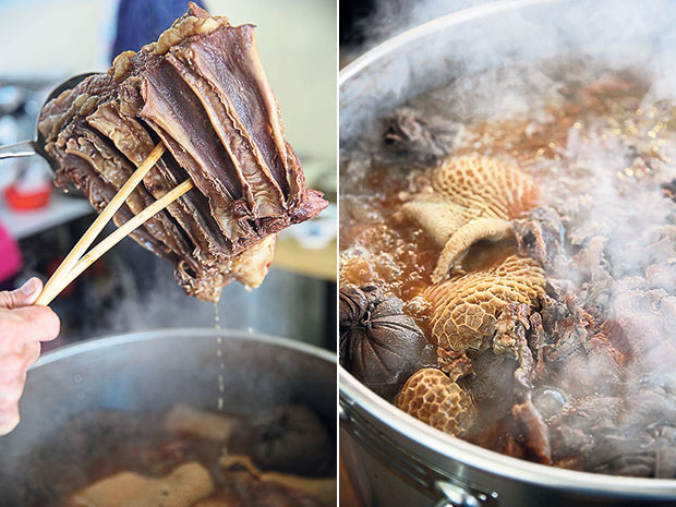 Beef striploin straight from the pot (left). The secret behind a great beef noodles is a deep tasting beef broth like this one (right).
