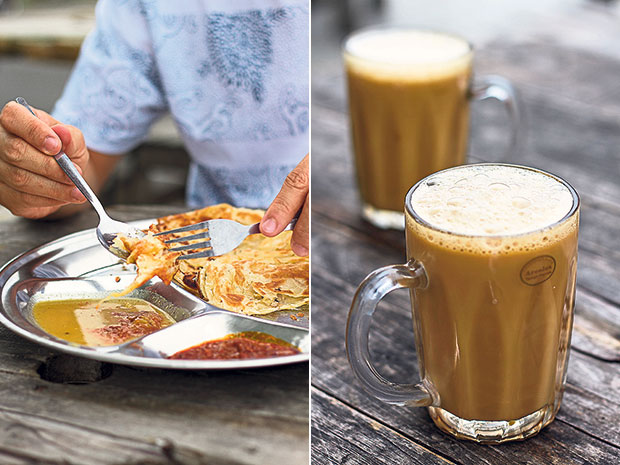 Dip your roti canai in dhal and sambal, Johor Bahru style (left). You can't go wrong ordering a bubbly teh tarik to go with your roti canai (right).