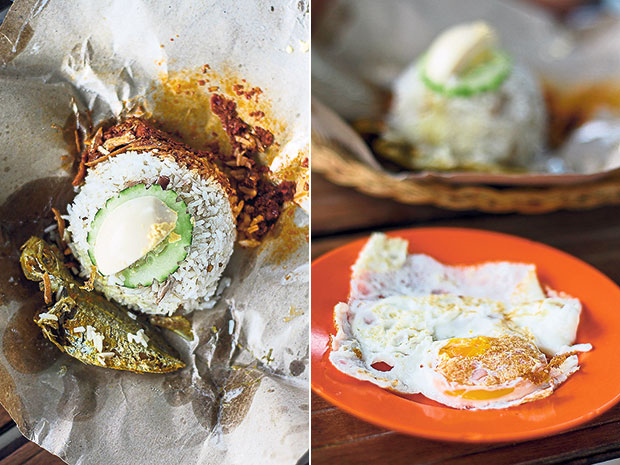 Nasi lemak at Onn Kitchen comes with fried fish instead of ayam goreng (left). A side order of fried egg to go with the nasi lemak (right).