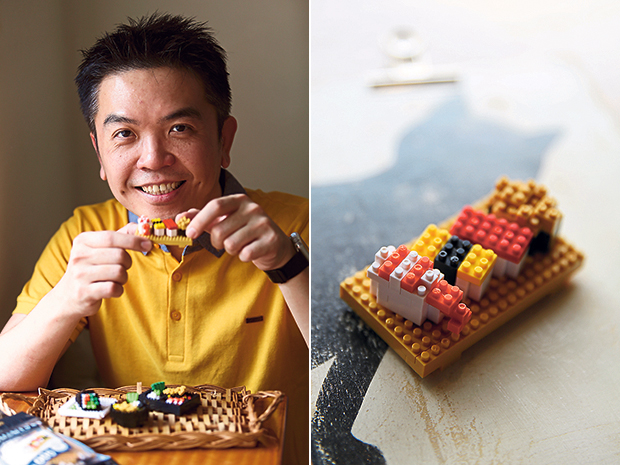 Malaysian nano brick artist Christopher Tan is the first independent artist outside Japan to collaborate with toymaker Kawada on official nanoblock designs (left). Tan's first official nanoblock series features four different types of Japanese food items (right). — Pictures by Choo Choy May