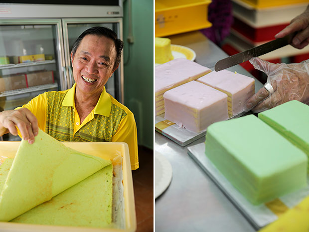 What makes the pandan layer cake special here is the cake is stronger than a typical sponge variety hence it holds up the thicker frosting without breaking (left). The yam layer cake has delicious yam bits inside the frosting (right).