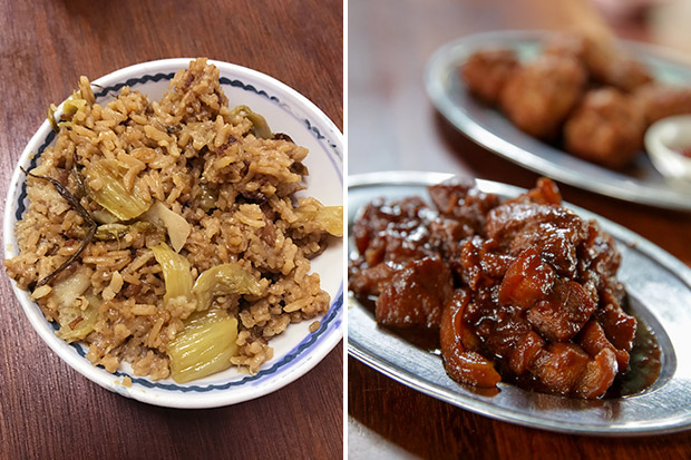 For smaller groups, try the delicious kai choy fan or rice cooked with mustard greens (left). The braised pork is tender and delicious eaten with the alkaline rice cake (right).