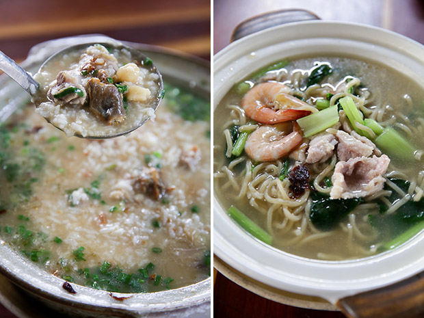 It takes about 45 minutes for this claypot Shenggu pork rib porridge to be cooked for its satisfying and comforting flavour (left). Served in a claypot, the noodles have a nice bouncy texture and is delicious with prawns, pork slices and vegetables (right).