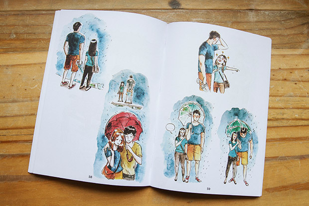 A watercolour spread from the book.