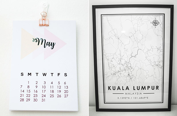 Calendars are also available from krlbrands (left). krlbrands also designs Malaysian state maps as decorative pieces (right).