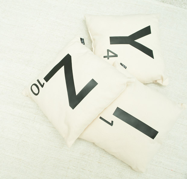 One of krlbrands' bestselling products are these Scrabble inspired alphabet cushions.