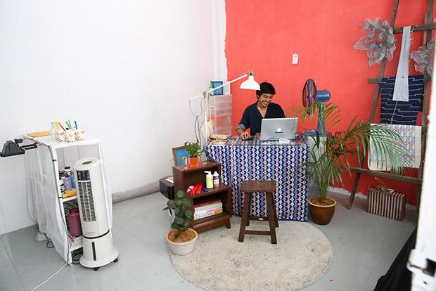 Silkscreen virtuoso Ibnu in his corner studio.