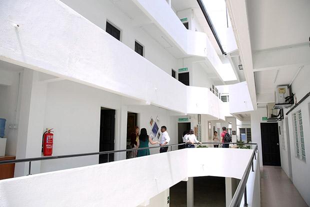 The light-filled corridors outside the law firm Muhendaran Sri.