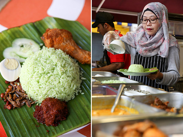 Try the nasi lemak Sri Pandan scented with pandan with a piece of fried chicken and a dollop of sambal (left). All the rice cooked at Mari Canai is steamed in small batches (right).