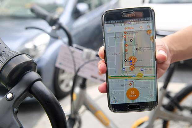 Locate any available oBike with the app which is available for Apple App Store and Google Play.