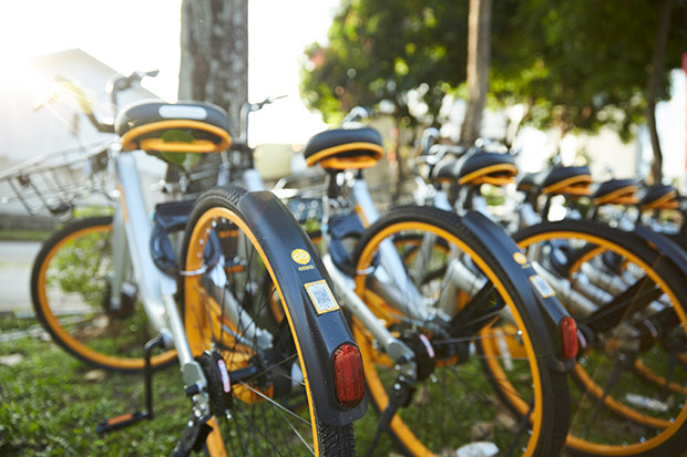 oBikes are strategically placed near train stations and public areas for easy access.