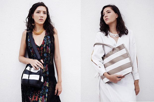 The Balsam bag is a bucket bag that's made of seat belts (left). The Peony tote is the best-seller (right).