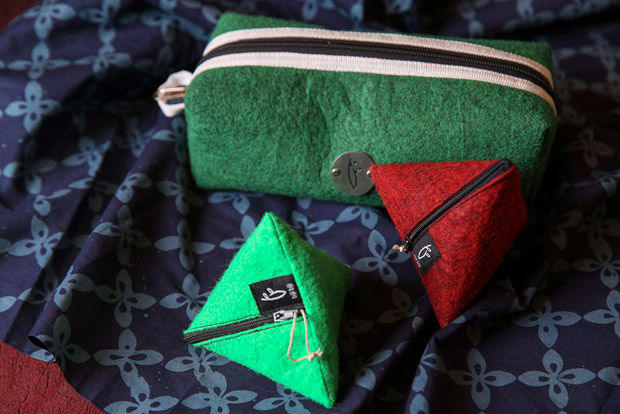 Pouches made from felt carpet materials.