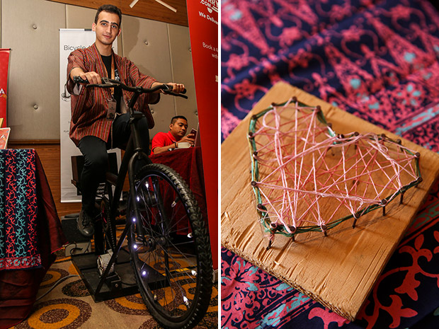 Ardeshir Hamedani, an intern at Biji-Biji shows how to generate power using a bicycle (left). String art made of recycled materials (right).