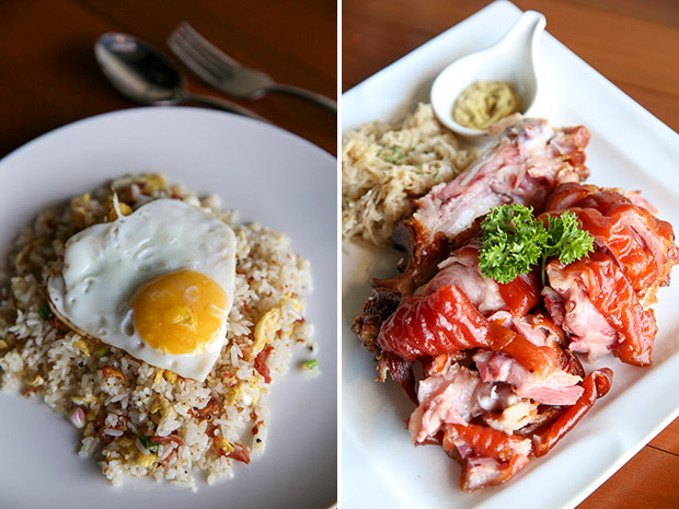 A crowd favourite is the simple but delicious Bacon Fried Rice (left). Smoked Pork Knuckle is tender with a slight, smoky taste and is served with sauerkraut and mustard (right).