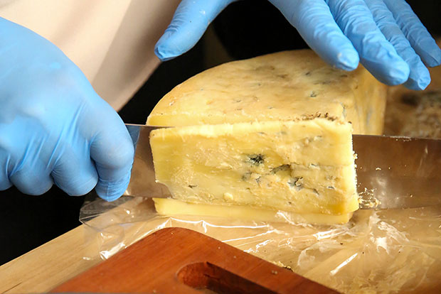 One of their bestsellers is the Turquoise Blue, done in the style of an Italian Gorgonzola Dolce.
