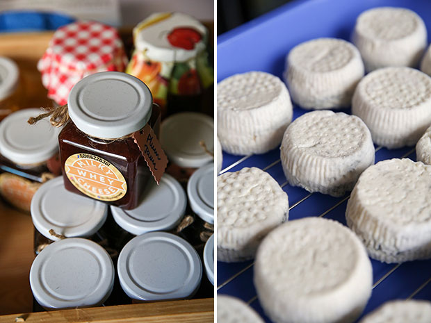 Milky Whey Cheese also offers homemade jams to accompany the cheese (left). An unusual cheese in the style of Humboldt Fog (right).