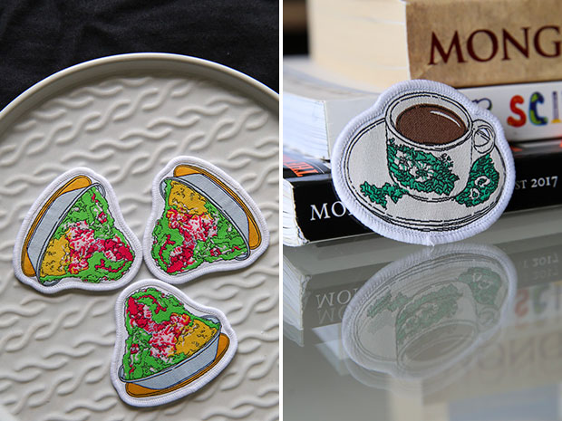 Cool down with these ABC patches from Uncommonco (left). Uncommonco worked with a Hong Kong manufacturer to produce this kopi-o iron-on patch (right).