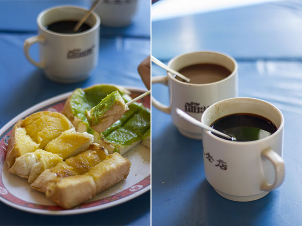 "Khanom pang ping (toasted bread) (left). Kafae boran (literally ""old coffee"") at Eiah-Sae (right)"