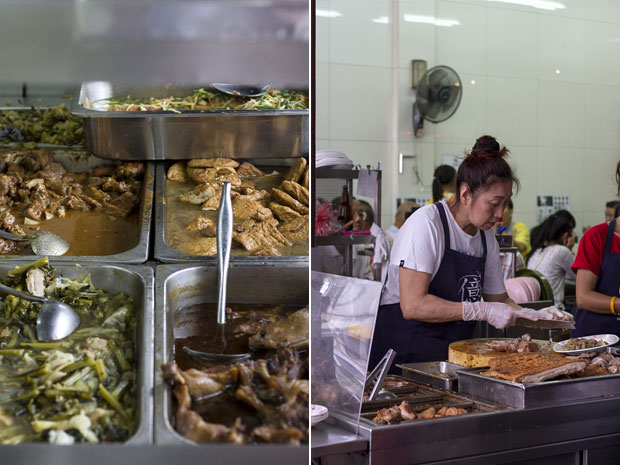 Vats of kway chap ingredients such as various pork offal braised in a dark sauce (left). Slicing up some braised pork trotters (right)