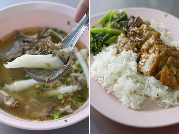 A bowl of Nai-Ek's famous kway chap (left).  Crispy pork belly (moo krob) on rice (right)