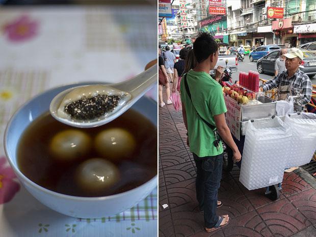 Bua loy nam king — black sesame dumpling balls in ginger soup (left). Freshly pressed pomegranate (tab tim) juice (right)