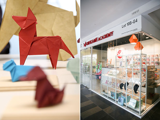 Barking crazy with this origami dog designed by Makoto Yamaguchi that is folded by Kenneth Ch'ng (left). The academy is located in Publika (right).