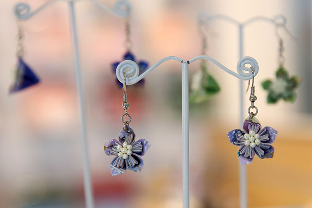 You can also purchase these handmade origami flower earrings with a water resistance coating.