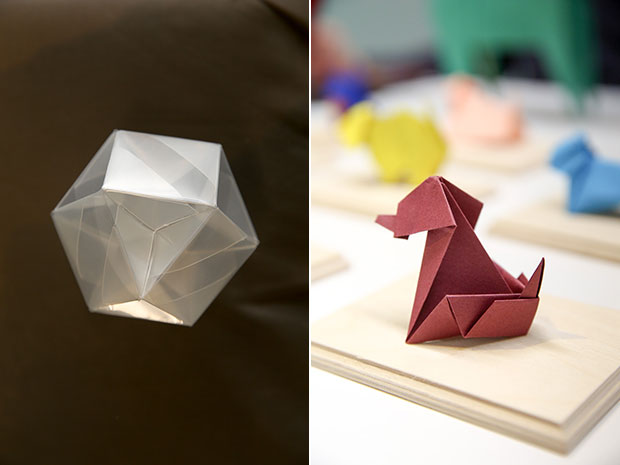 Origami has found its way into science like this hemi cuboctahedron that shows an interlocking design (left). Wag goes the tail for this origami dog designed by Yasuhiro Sano which is folded by Kenneth Ch'ng (right).