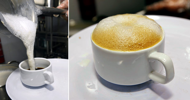 Once the milk is frothy, it is quickly poured on top of the coffee (left). Nothing beats a fragrant cup of coffee served with fresh cow's milk after a meal here (right).