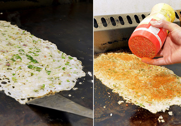 The onion dosa has a thin layer of batter topped with chopped onions and herbs (left). Pudi is sprinkled over the dosa to give it extra flavour (right).