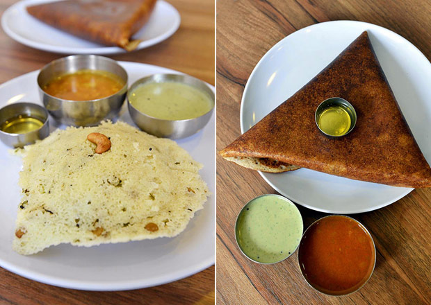 For a light, fluffy snack, try their rava idli, an item MTR created from roasted semolina during World War 2, when there was a shortage of rice (left). Order the crispy masala dosa stuffed with spiced potatoes, served with green chutney and lentil sambar (right).