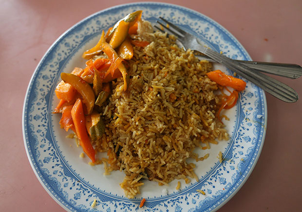 On Wednesday and Friday, you can score a plate of nasi biryani with acar