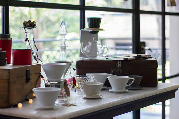 Various coffee brewing equipment at Some Time Blue