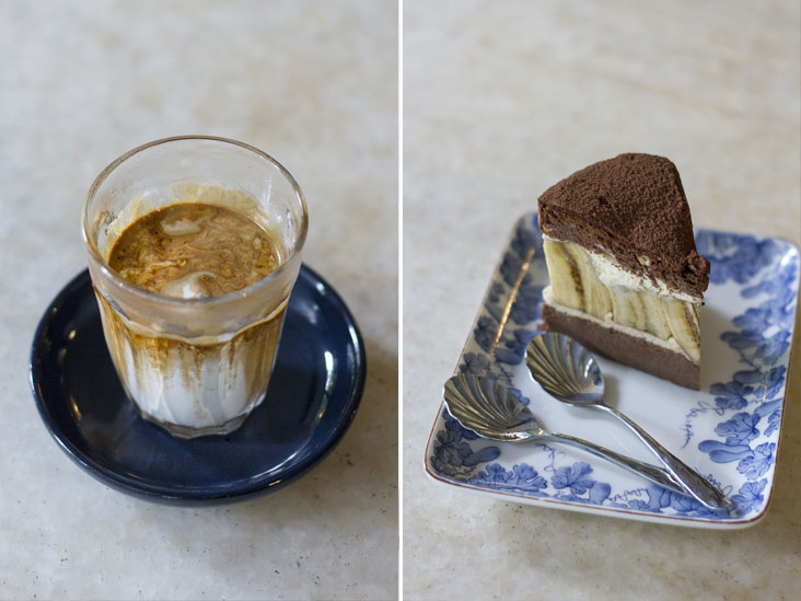 The nutty and balanced Gravity Latte (left). Would you like some banoffee cake? (right)