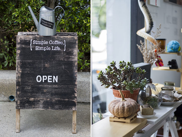 A whimsical welcome to Simple Coffee, Simple Life (left). Suffused with natural sunlight (right)